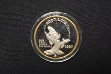 1987 WALT DISNEY MICKEY'S MAGIC 1 0Z .999 SILVER ROUND WITH BOX COA