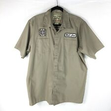 Jesse James West Coast Choppers Mechanic Shirt Men Size Large Tan S/S Work Wear
