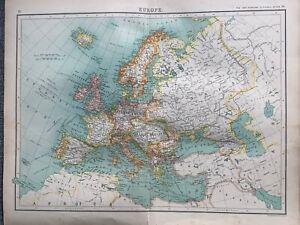 1902 EUROPE ORIGINAL ANTIQUE MAP BY JOHN BARTHOLOMEW