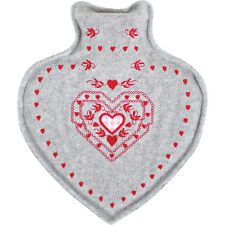 Novelty 800ml Heart Shaped Hot Water Bottle With Felt Cover PAROH