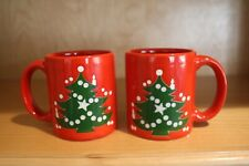 "Two New Waechtersbach W. Germany Red Christmas Tree Hot Choc Mugs  3""x 3 1/4"""