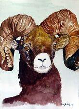 "Original watercolor painting""Ram""by Nardu Debrah,Animals,Size10""x13.5"""