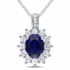 Haylee Jewels Silver Blue & White Created Sapphire and Diamond Accent Necklace