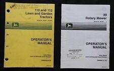JOHN DEERE 110 112 LAWN & GARDEN TRACTOR OPERATORS MANUAL Ser. #100,001-#130,000