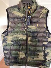 Mens $168 POLO-RALPH LAUREN Sz Large CAMO Down Packable Puffer Yellow  PONY Vest