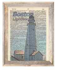 Boston Lighthouse Massachusetts Altered Art Print Upcycled Vintage Dictionary