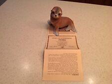 Vintage Akiku Seal Pup Porcelain Statue Figure Roger J. Brown Signed 1978 Coa