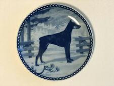 Vintage Doberman Plate Blue White Denmark Hunde Platte Tove Svendsen