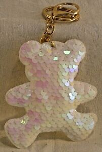 Sequin Padded Keyring Pearl White Teddy