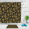 Black and Gold Fabric Shower Curtain Set Damask Floral Bathroom Curtains Sheer