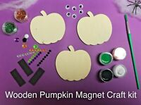 Paint Your Own Halloween PUMPKIN Wooden Magnets Kids Craft Kit ~ Trick or Treat
