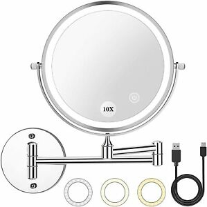 2000mAh Rechargeable Wall Mounted Makeup Mirror with Light 8inch 1X / 10X Vanity