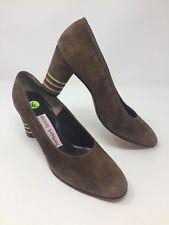 New Herbert Levine Joseph Magnin Vintage Leather Heels Brown Suede Pumps Sz 6B