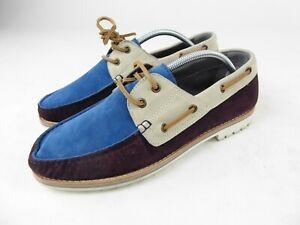 Lanvin Men's Leather & Suede Deck Driving Loafer Shoes Size 8 UK