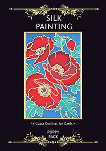 Silkcraft Silk Painting Gutta Outlines - Card Making - Poppy Pack (Pack of 5)