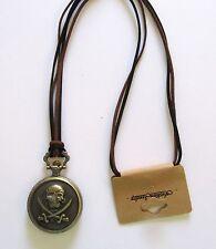 Pocket Watch Necklace- Skull & Cross Bones -bronze color- brown & black cord
