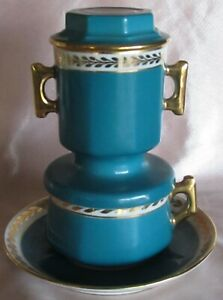 Cup Coffee with Sound Filter Porcelain Aluminite Limoges Blue Green Gold
