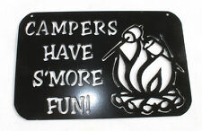 Campers Have S'More Fun Camping Sign Camp Fire w Marshmallows Plasma Metal Art