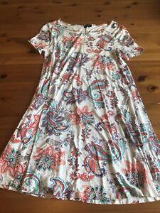F&F Size 12/14 White Orange Patterned Mini Dress Round Neck Short Sleeves
