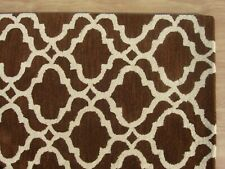 Ryana Scroll Tile Trellis Brown Modern Hand-Tufted 100% Wool Area Rug Carpet