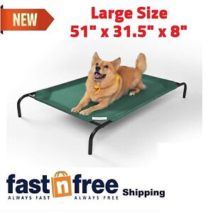 Large Green Coolaroo Elevated Pet Dog Cot Bed Breathable Cool Knitted Fabric