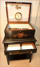FABULOUS ANTIQUE HUMIDOR WITH STAND CHINOISERIE DESIGN MILK GLASS + KEY LOCK