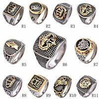MODOU Men's Two-Tone Stainless Steel Crown Signet Finger Rings Jewelry Size Q-Z