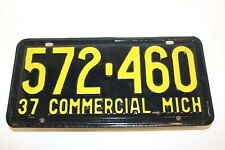 Matching Pair 1937 COMMERCIAL MICHIGAN License Plates - MINT UNISSUED Condition