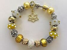 """European Style Charm Bracelet with Murano Glass Beads 8.3"""" long Snap Clasp"""