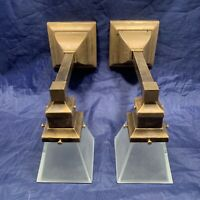 Rewired Pair Brass Arts & Crafts Mission Sconces Square Shades 99B