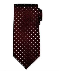 "New Tom Ford Dark Burgundy Brown Polka Dot Mulberry Silk Tie ""Current Style"""