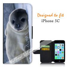 Apple iPhone 5C Wallet Flip Phone Case Cover Snow Seal Pup Y00967