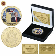 WR 45th President Donald Trump GOLD Coin Medal In Box 5 60th 70th Birthday Gifts