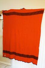 Vintage Virgin WOOL Stadium Blanket AYERS CANADA Scarlet Red BLACK Bay Stripe