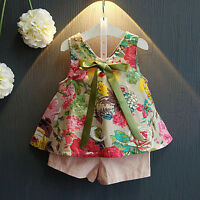 2PCS Toddler Kids Baby Girl Floral Shirt Tops+Shorts Pants Outfit Clothes Set