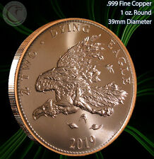 """New listing 2019 """"Two Dying Eagle"""" 1 oz .999 Copper Round Zombucks Series"""