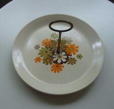 Vintage Johnson of Australia Cake Plate with Bronze Handle *Paradise *Daisies