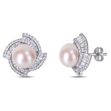 Amour Sterling Silver Cultured FW Pearl & CZ Swirl Halo Stud Earrings