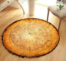 Round Rug Carpet Non Slip Wooden Log Theme