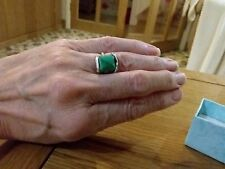 BRAND  NEW SILVER PLATED RING WITH A SMALL TURQUOISE STONE  SIZE K