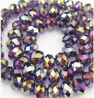 NEW Jewelry Faceted 100 pcs Violet AB #5040 3x4mm Roundelle Crystal Beads DIY !!