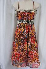 Nine West Petite Dress Sz 2P Red Multi Spaghetti Strap Casual Outing dress