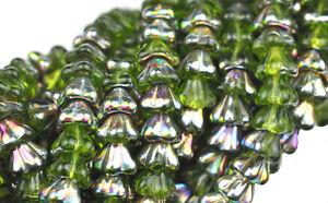 25 Olivine Vitral Bell Flower Czech Glass Beads 8MM