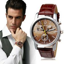 Mens Luxury Fashion Crocodile Faux Leather Mens Analog Watch Watches