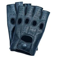Men's Finger less 100% Genuine Leather Driving Gloves Chauffeur