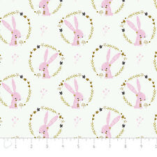 Fabric 100 Cotton Camelot Hello My Deer Rabbits