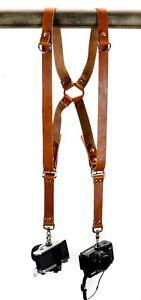 Leather Dual Camera Harness Tan Saddle Ring Back Alternative Streetwear Style