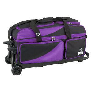 BSI Black/Purple 3 Ball Roller Bowling Bag