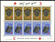 MAROC BF N°558A** Bloc Feuillet CROISSANT ROUGE 1968, MOROCCO #191-192a sheet NH