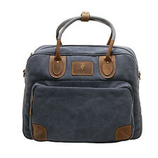 d41ae4610c Cactus - Denim Blue Canvas Travel Bag Holdall with Brown Leather Trim